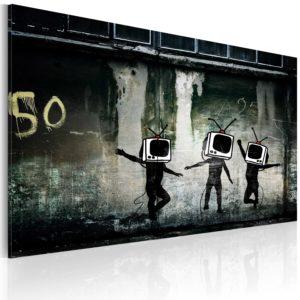 Tableau -  Danse de TV têtes (Banksy) fait partie des tableaux murales de la collection de worldofwomen découvrez ce magnifique tableau exclusif chez nous