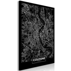 Tableau - Dark Map of Cologne (1 Part) Vertical fait partie des tableaux murales de la collection de worldofwomen découvrez ce magnifique tableau exclusif chez nous