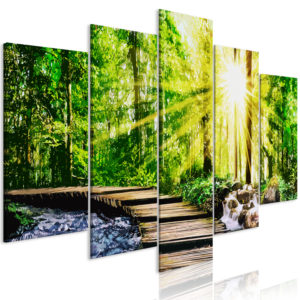 Tableau - Forest Footbridge (5 Parts) Wide fait partie des tableaux murales de la collection de worldofwomen découvrez ce magnifique tableau exclusif chez nous