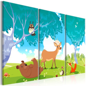 Tableau - Friendly Animals (3 Parts) fait partie des tableaux murales de la collection de worldofwomen découvrez ce magnifique tableau exclusif chez nous