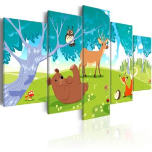 Tableau - Friendly Animals (5 Parts) fait partie des tableaux murales de la collection de worldofwomen découvrez ce magnifique tableau exclusif chez nous