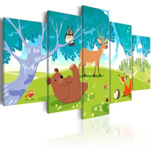 Tableau - Friendly Animals (5 Parts) fait partie des tableaux murales de la collection de worldofwomen découvrez ce magnifique tableau exclusif chez nous