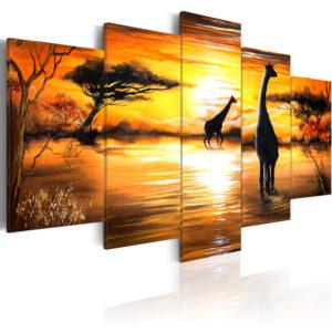 Tableau - Girafes au trou d'eau fait partie des tableaux murales de la collection de worldofwomen découvrez ce magnifique tableau exclusif chez nous
