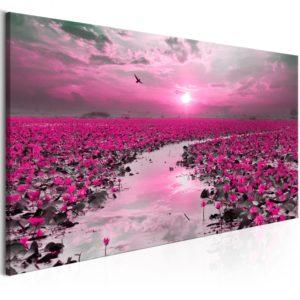 Tableau - Lilies and Sunset (1 Part) Narrow fait partie des tableaux murales de la collection de worldofwomen découvrez ce magnifique tableau exclusif chez nous