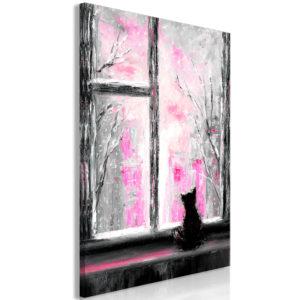 Tableau - Longing Kitty (1 Part) Vertical Pink fait partie des tableaux murales de la collection de worldofwomen découvrez ce magnifique tableau exclusif chez nous