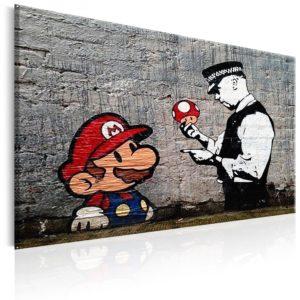 Tableau - Mario and Cop by Banksy fait partie des tableaux murales de la collection de worldofwomen découvrez ce magnifique tableau exclusif chez nous