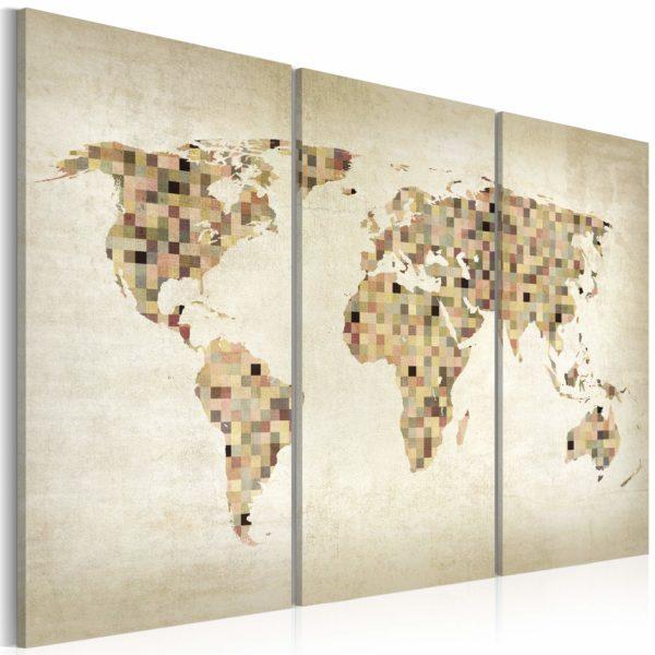 Tableau -  Monde en beige - triptyque fait partie des tableaux murales de la collection de worldofwomen découvrez ce magnifique tableau exclusif chez nous