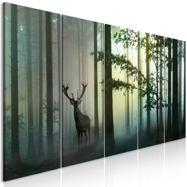 Tableau - Morning (5 Parts) Narrow Green fait partie des tableaux murales de la collection de worldofwomen découvrez ce magnifique tableau exclusif chez nous