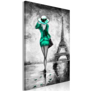 Tableau - Parisian Woman (1 Part) Vertical Green fait partie des tableaux murales de la collection de worldofwomen découvrez ce magnifique tableau exclusif chez nous