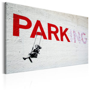 Tableau - Parking Girl Swing by Banksy fait partie des tableaux murales de la collection de worldofwomen découvrez ce magnifique tableau exclusif chez nous