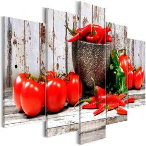 Tableau - Red Vegetables (5 Parts) Wood Wide fait partie des tableaux murales de la collection de worldofwomen découvrez ce magnifique tableau exclusif chez nous