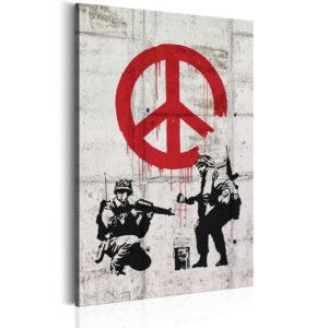Tableau -  Soldiers Painting Peace by Banksy fait partie des tableaux murales de la collection de worldofwomen découvrez ce magnifique tableau exclusif chez nous