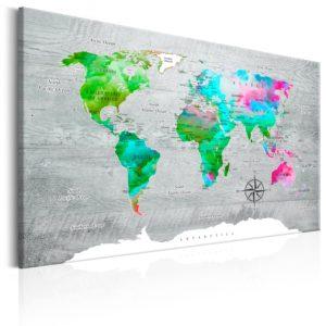 Tableau - World Map: Green Paradise fait partie des tableaux murales de la collection de worldofwomen découvrez ce magnifique tableau exclusif chez nous