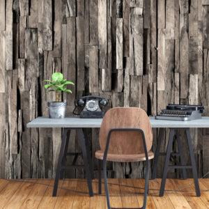 Papier peint adhésif - Wooden Curtain (Dark Brown)